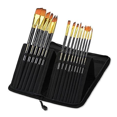 Komina Professional 15pièces Pinceaux Brosses–pour tous les types de Paints-acrylic,