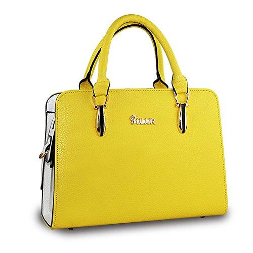 DELEY Donne Fascino Grande Capacità Top Handle Tote Handbag OL Tracolla Valigetta Borsa Borsetta Satchel Bag Giallo