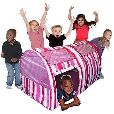 Childrens Pinked Stripe Bed Play Tent Indoor & Outdoor