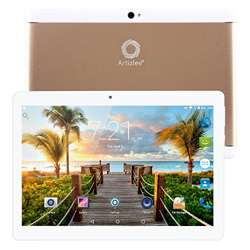 Nuevo Tablet Artizlee ATL-21X, 10.1' Tablet Pc (Android 6.0, Quad Core, FHD 1920x1200 IPS, 2GB RAM, 32GB, Cámara 5.0MP, WiFi, Bluetooth, OTG) Oro, 2017 Versión Actualizada