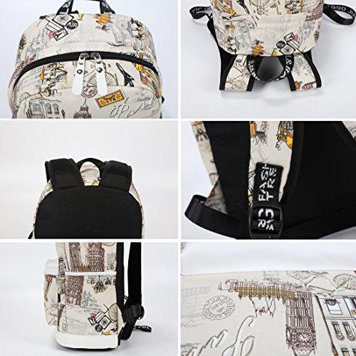 Mocha weir JIAYBL Laptop Taschen Schultern Kinder Schultaschen Rucksack Hochschule Mädchen Canvas Pack reisen (Gelb Kleiner Pfeffer) London Big Ben 01