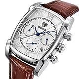 Luxus-Armbanduhr, analog, Quarz, Chronograph, Herren, klassisches rechteckiges Design, wasserdicht, Datumsanzeige, braunes Leder, silberfarben/Weiß