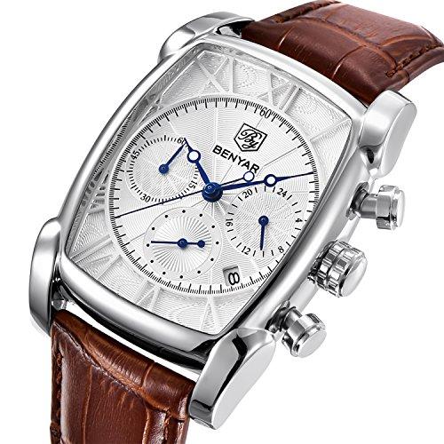 Luxus-Quarz-analoge Herren-Uhren, Chronograph, klassisch, Armbanduhr, mit Datum, wasserdicht, Braun, Silber, Weiß