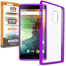 Orzly® FUSION Bumper Case para OnePlus 2 (OnePlus TWO) SmartPhone (2015 Modelo) - Funda Dura Protectora con absorción de impactos PÚRPURA goma Rim y completo transparente Panel posterior