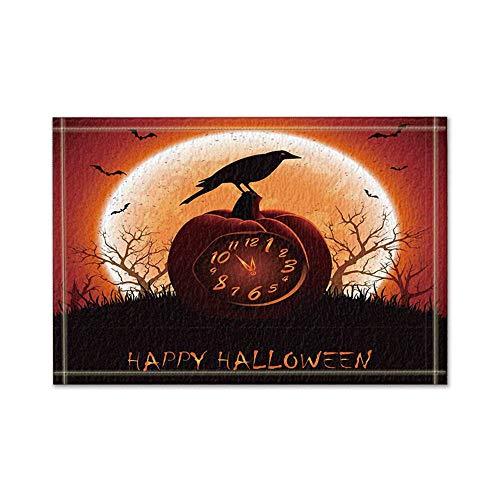rbisuhr auf Halloween-Nachtbadeteppichen rutschfeste Boden-Eingänge im Freien Innenfronttür-Matte 16X24 Zoll-Badematte ()
