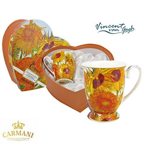 Carmani - Set di 2 Porcellana tazza per il te, caffe, cacao in confezione regalo con Vincent Van Gogh - Girasoli 400 ml