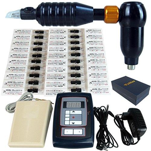 LregonXawk Tattoo Machine Kit Pen 1 Tätowiermaschine 20 Tattoo Nadeln LCD Display Fußpedal Griffe Tattoo Nadeln Tipps Permanent Tattoo Machine Supply (Billige Tattoo Kits)