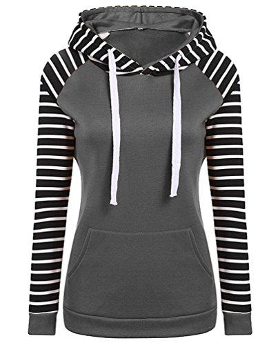 YuanDian Femme Automne Et Hiver Casual Rayure Manches Longues Hooded Sweatshirt Sweat A Capuche Chaud Long Pull à Capuche Manteau Gris