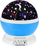 MKQPOWER Lampada sferica a 4LED, Rotante, con Luna e Stelle, proietta Disegni sul suffitto, per Creare Atmosfera nella cameretta dei Bambini o in Camera da Letto, Idea Regalo di Natale