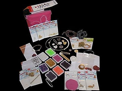 Pochette création bijoux, 1100 perles Swarovski, toupies, nacres et fermoirs - Perles Box