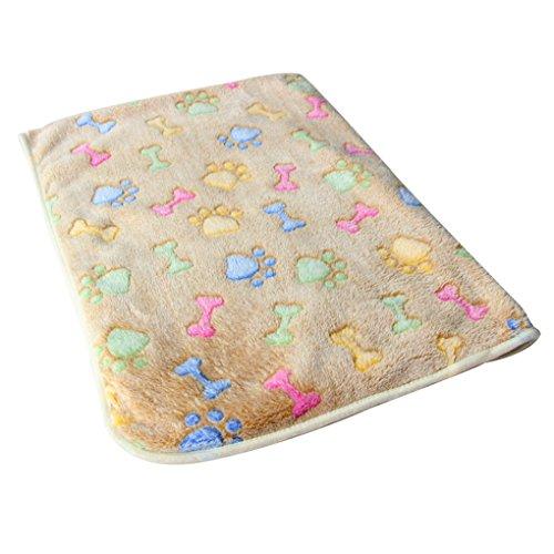 QHGstore Warm Pet Mat Knochen Druck Katze Hundewelpen Fleece Soft Decken Bett Kissen Brown Knochen 76*52cm