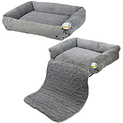 Me & My Pets Grey Fleece Cat/Dog Bed with Sofa Protector - Choice of Size