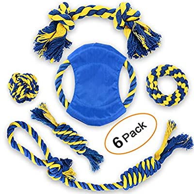EADE Dog Rope Toys, Dog Toy Set, Rope Ball, Cotton Knot, Chew Toy, Dog Interactive Toy, Beneficial to Dog's Mental Health, Dental Health, and Teeth Cleaning, Best Gift for Small/Medium Dogs.