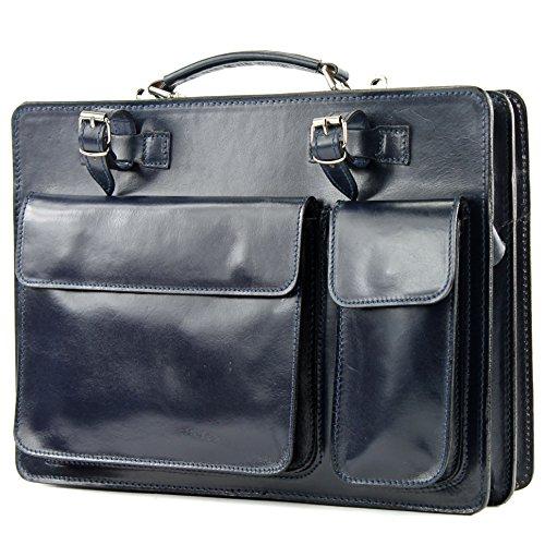 Sac italien porte-documents sac housse sacoche en cuir dossiers NL01, Präzise Farbe (nur Farbe):Dunkelblau