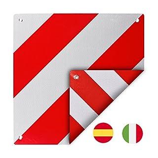 Warntafel zum wenden für Italien und Spanien Aluminium 50 x 50 cm mit Ösen
