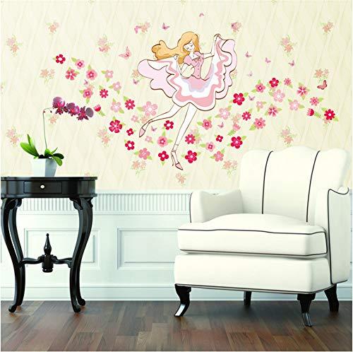 Shuyinju Grüne Blumen Mädchen Wandaufkleber Wohnzimmer Schlafzimmer Dekoration Nachttisch Aufkleber Cartoon Tapeten Aufkleber Wandaufkleber