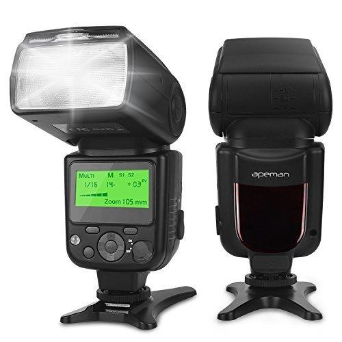 apeman Speedlite Blitzgerät für Canon, Nikon, Leitzahl 58, Multifunktionales Portables Paket, Kompatibel mit Sony, Panasonic, Pentax und Olympus DSLR Kameras