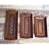 Wooden Serving Tray With Brass Work Inlayed Handcrafted (Set Of 3, Brown)
