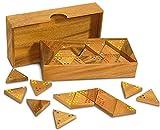 Gesellschaftsspiel Tridomino aus Holz natur braun, 19,5 x 10 x 4 cm, Domino Legespiel Denkspiel Strategiespiel Holzspiel, Geschenk Reisespiel