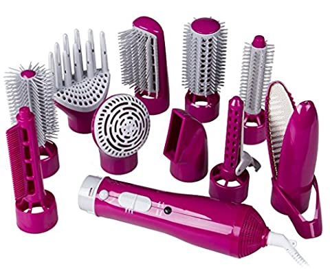 DPWELL 10in1 Multi Hot Air Styler Hair Brush Comb Dryer for Straighting Curling Hair (Rose Red)
