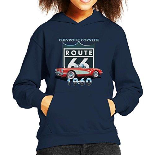 Chevrolet Corvette Route 66 1960 Kid's Hooded Sweatshirt - Corvette Sweat-shirt