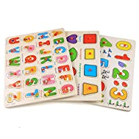 Profun 56 PCS Wooden Jigsaw Puzzle 3 Alphabet/Number/Graph Set Educational Puzzle Toys for Kids