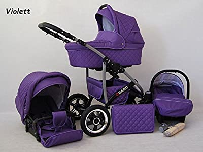 Kinderwagen Qbaro, 3 in 1- Set Wanne Buggy Babyschale Autositz Violett