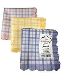Women handkerchiefs soft cotton fabric Checkered multicolored face napkin