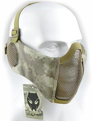 Worldshopping4u Taktische halbe Gesichtsmaske, für Airsoft, Schutz für untere Gesichtshälfte, Geflecht, Nylon, mit Ohrschutz, AT