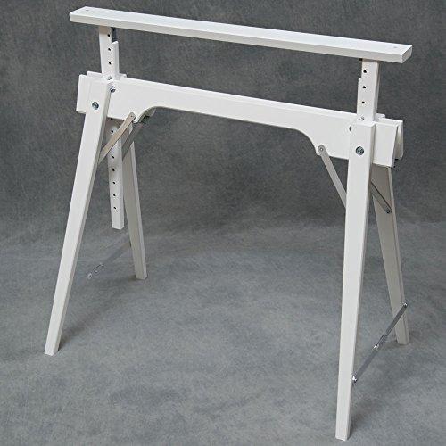 Tischbock in Buche, Weiß (RAL 9016) lackiert, Höhenverstellbar von ca. 64 - 105 cm, Auflagenbreite 75 cm
