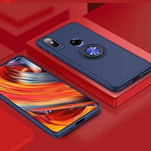 XIFAN Funda Xiaomi Mi Mix 2s con Montaje en Coche, Rugged TPU Funda de Silicona para el Soporte, de 360 ° Rotación Kickstand. Azul-Azul