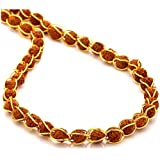 RUDRADIVINE Gold Plated Brass Wire Beads with 5 Mukhi Rudraksha Mala for Men and Women