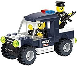 Police Badge Building Blocks Series Toy Car Set With Mini Policeman Officer In The Emergency Vehicle With Gun Stimulate Your Childs Imagination And Creativity Good Game Play For Boys And Girls
