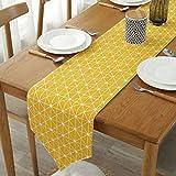 GWELL Chemin de Table en Coton Moderne Simple Nappe Décoration de Table pour la Salle à Manger Jaune 30 * 220CM