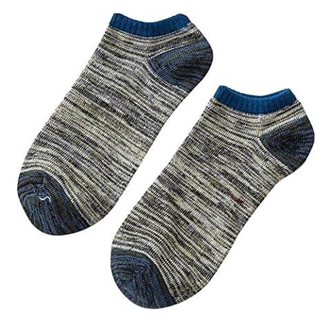 Saingace 1Pair Men Cotton Warm Ankle Low Cut Socks Casual Classic Cotton Short Socks (Grey)