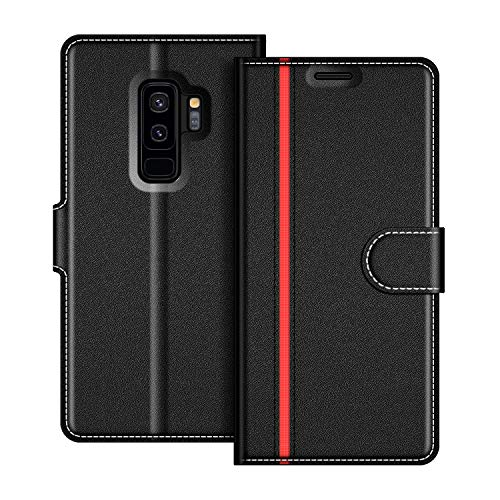 COODIO Samsung Galaxy S9 Plus Hülle Leder Lederhülle Ledertasche Wallet Handyhülle Tasche Schutzhülle mit Magnetverschluss/Kartenfächer für Samsung Galaxy S9 Plus, Schwarz/Rot