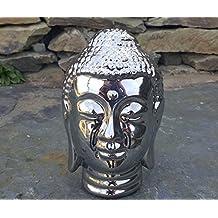 plateado cromado cabeza de Buda escultura figura decorativa para interiores y exteriores Casa y jardín
