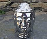 Chrom Silber Buddha Kopf Skulptur Ornament Indoor Outdoor Garten Home