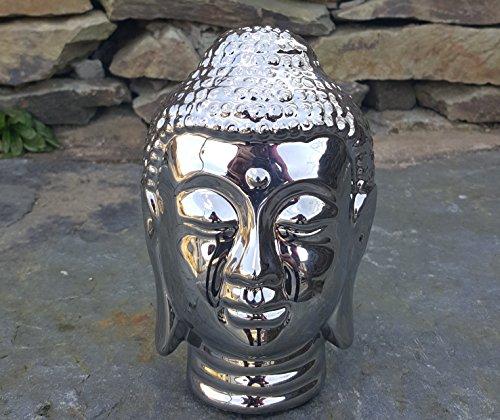 Chrome Silver Buddha Head Sculpt...