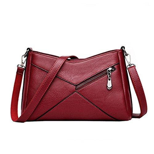 Mode Pu Leder Schultertasche Für Frauen Lady Classic Umhängetasche Mini Satchel Handtasche,Red-M (Satchel Classic Mini)
