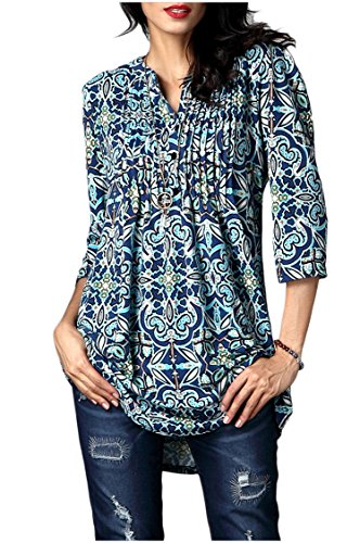 Baumwolle 3/4 Sleeve V-neck Top (Minasan Summer Ladies Elegant Vintage Floral Pattern 3/4 Sleeve T Shirt Blue O-Neck Pleated Long Blouse Tops L)