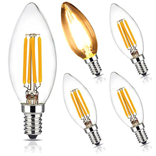 BRIMAX E14 C35 LED Decorative Filament Candle Light Bulbs,4W Warm White 2700K (Dimmable) Chandelier Lamp, Small Edison Screw, SES Candelabra Bulb Torpedo Shape,40W Incandescent Equivalent, 5-Pack