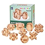 Once ZY Time Wooden Brain Teaser Puzzles for Adults Kids - IQ Challenge Toy Mind Game Gift Set Bamboo Interlocking Cube Blocks