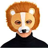 Kids Lion Safari King Fancy Dress Furry Soft Plush Face Mask with elastic Strap