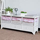 EXQUI Kommode Weiß mit Schubladen Seitenschrank Kleiner TV-Ständer Bank Schrank Lowboard mit 3 Schubladen und 3 Aufbewahrungskörben für Wohnzimmer Schlafzimmer, 106x30x43cm,G120W-YBS