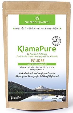 KlamaPure - Klamath en poudre séchée à froid - Sans additif, certification bio Organic par OTCO - Sachet de 150g