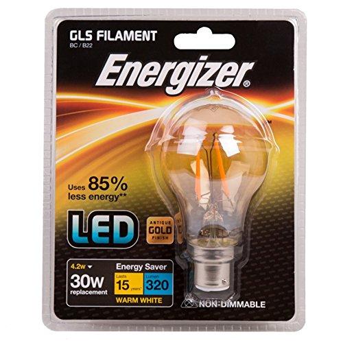 Energizer LED GLS Doré ampoule basse consommation, B22, 4,2 W, Blanc chaud
