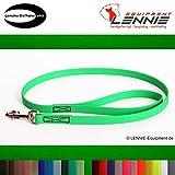 LENNIE BioThane Führleine, 16mm breit, 3m lang, Neon-Grün, mit Handschlaufe, genäht