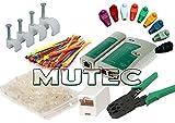 MutecPower - kit di strumenti di rete via cavo: Cavo tester + Pinza crimpatrice + 50 connettori RJ45 + 50 fermacavi da parete + 50 cable boots + 2 accoppiatore RJ45 + 50 fascette per cavi