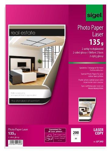 SIGEL LP343 Fotopapier für Laser / Kopierer, A3, 200 Blatt, hochglänzend, beidseitig bedruckbar, 135 g